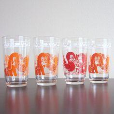 Set of 4 1950's Swanky Swigs Kiddie Cups Juice by ModernRetroHome,