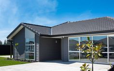 Add a twist to the traditional weatherboard look with dark paint Traditional Home Exteriors, Traditional House, Cladding, Entrance, James Hardie, House Design, Architecture, Yard Ideas, House Styles