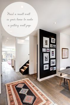 Use Black Without Painting An Entire Room  - paint a small wall and accessorize with a gallery