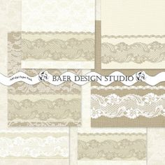 These burlap and lace digital papers make beautiful stationery for weddings, baby showers, and special events!