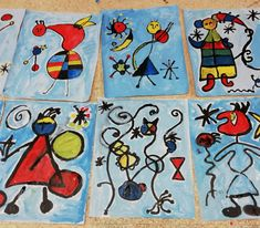 Art History Projects For Kids, School Art Projects, Joan Miro Paintings, Magritte Paintings, Primary School Art, Spanish Art, Art Lessons Elementary, Art Programs, Elements Of Art