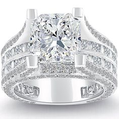 7.26 Carat F-SI1 Radiant Cut Natural Diamond Engagement Ring 14k White Gold #LioriDiamonds #DiamondEngagementRing