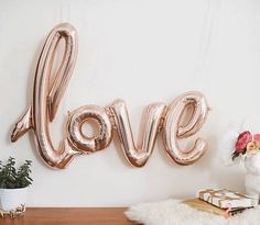 Giant 40 Mylar Rose Gold Love Script Bridal by JamboreePartyBox