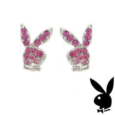 Playboy Earrings Bunny Logo Studs Pink Swarovski Crystals Platinum Plated RARE #Playboy #Stud