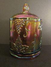 "Vintage / Antique Large IRIDESCENT DEPRESSION GLASS ""GRAPES"" COOKIE JAR with LID"
