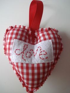 Valentines love red gingham hanging heart by SamsShenanigans, $5.50
