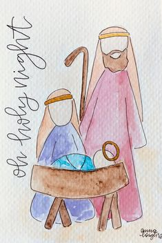Your place to buy and sell all things handmade Your place to buy and sell all things handmade Original Watercolor Nativity Painting Watercolor Christmas Cards, Christmas Drawing, Christmas Paintings, Watercolor Cards, Watercolor Paintings, Christmas Pictures To Draw, Holiday Pictures, Nativity Crafts, Christmas Nativity