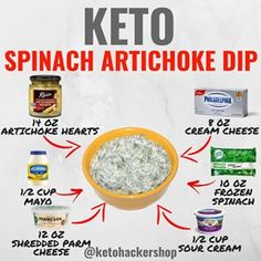 Keto spinach artichoke dip here is a delicious recipe for keto spinach artichoke dip by calories macros this makes 20 servings of spinach artichoke dip each serving comes out to be 231 calories fats protein 2 net carbs ingredients ½ cup Cetogenic Diet, Keto Diet Plan, Juice Diet, Ketogenic Recipes, Low Carb Recipes, Low Carb Meal, Keto Meal, Aperitivos Keto, Comida Keto