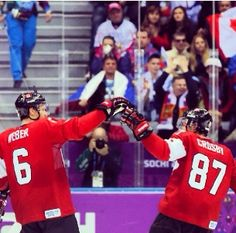 Sidney Crosby And Shea Weber Sochi Olympic Hockey, Men's Hockey, Olympic Team, Olympic Games, Shea Weber, Nhl Awards, Sport Inspiration, Sidney Crosby, Sports Figures
