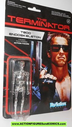 Funko Toys for sale to buy ReACTION action figures The TERMINATOR series (James Cameron) 2013 T800 ENDORSKELETON (Chrome version) Complete in OPEN package. condition: Figure is in excellent condition