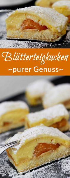 Rezept: Blätterteigkuchen mit Vanillepudding, Biskuit und Pfirsischen  #rezept #blätterteig #kuchen