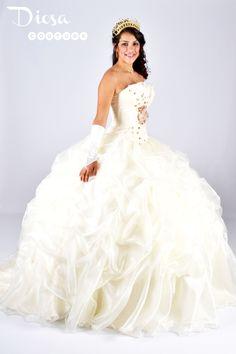Gold and white cotillion white dress #debutantesdresses ...