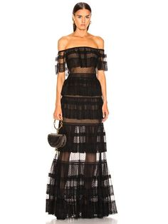 Zuhair Murad Tiered Lace Dress in Black | FWRD