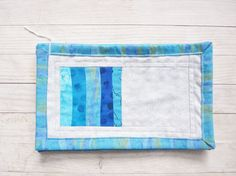 Drink coasters mug rugs place mats soft turquoise blue green gray cotton set of 5 modern rustic stripes quilted home decor gift by poppyshome on Etsy