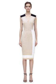 Victoria Beckham V NECK PRINT FITTED #dress