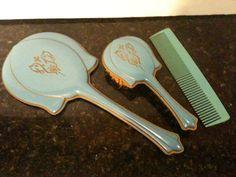 Vintage Blue Art Deco Vanity Set. Vintage Glam, Vintage Vanity, Vintage Hair, Glass Vanity, Vanity Set, Vanity Fair, Dresser Sets, Dresser Vanity, Dressing Table Vanity