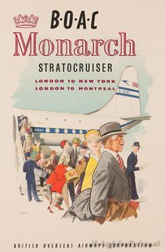 Vintage style travel poster - UK / Airline BOAC Monarch Stratocruiser