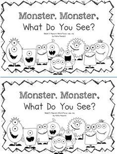 Adorable emergent reader perfect for Fall. Monster Activities, Halloween Activities, Autumn Activities, Monster Crafts, Halloween Worksheets, Toddler Activities, Green Monsters, Monsters, Halloween Stuff