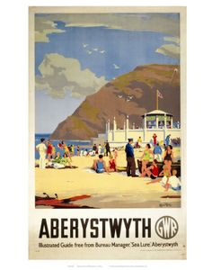 Canvas Print (other products available) - Produced for the Great Western Railway (GWR) to promote the Welsh coastal resort of Aberystwyth. The artwork is by Herbert Alker Tripp - Image supplied by National Railway Museum - Canvas Print made in Australia Posters Uk, Beach Posters, Railway Posters, Retro Posters, Train Posters, British Seaside, British Isles, National Railway Museum, Aberystwyth