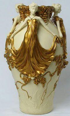 Gold Art Nouveau Vase
