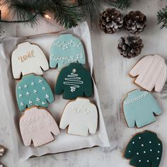 Scandi Christmas Jumper Biscuits by Honeywell Biscuit Co, the perfect gift for Explore more unique gifts in our curated marketplace. Christmas Sugar Cookies, Christmas Snacks, Christmas Goodies, Holiday Cookies, Holiday Baking, Christmas Desserts, Christmas Baking, Christmas Cookie Boxes, Christmas Cookies Packaging