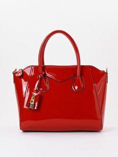Gorgeous Red Patent Leatherette Handbag w/Detachable Shoulder Strap! #Unbranded #Handbag