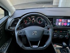 Seat Leon FR Carbon Custom Steering Wheel , to find out more click VISIT Steering Wheels, Car Upholstery, Jdm, Carbon Fiber, Ibiza, Cars And Motorcycles, How To Find Out, Father, Instagram