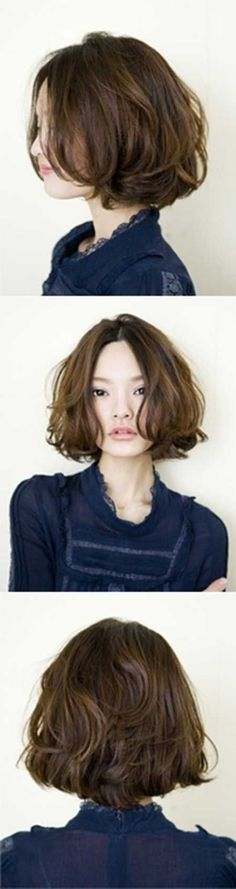 Asian short hair · oh my.i think i want to chop my hair like Asian Short Hair, Short Wavy Hair, Asian Hair, Wavy Lob, Short Perm, Japanese Short Hair, Curly Bob, Tousled Bob, Long Curly
