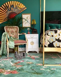 I knew Jade Birdsong would work rather well with the sea-cove bedroom walls.and I have finally chosen a wallpaper for this wall too,… Art Deco Bedroom, Bedroom Decor, Bedroom Inspo, Interior Design Boards, Interior Design Inspiration, Oriental Bedroom, Eclectic Furniture, Dream Decor, Dream Rooms