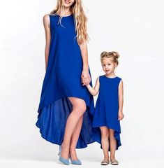 Girls Mommy and Me Matching Hi-Lo Blue Sleeveless Dress