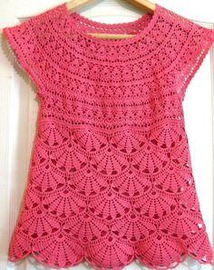 Crochet Shirt Lilies Tunic - Free Crochet Diagram - (senpolia): - A tunica crosetata recommended for summer season, easy, lighter sourdough and charismatic, ideal for summer. T-shirt Au Crochet, Pull Crochet, Gilet Crochet, Mode Crochet, Crochet Shirt, Crochet Diagram, Crochet Woman, Crochet Stitches, Crochet Baby