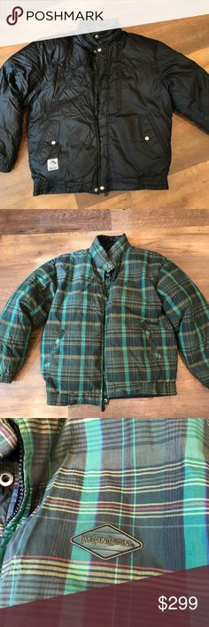 """Yves Saint Laurent Down Jacket- Reversible! Puffer Down Jacket, green plaid reverses to black. Black side is in excellent condition, no flaws. Green side shows some wear at bottom hem- see pic. Measures 24"""" armpit to armpit, 31"""" collar to Sleeve, and 28"""" collar to bottom hem. Yves Saint Laurent Jackets & Coats Puffers"""