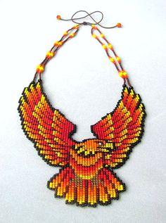 Seed Beaded Eagle Halskette Aguila de Fuego Animal Spirit
