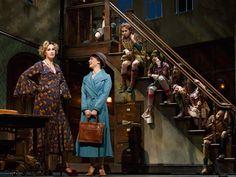 Jane Lynch as Miss Hannigan, Brynn O'Malley as Grace, with the Annie orphans.
