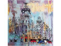 cuadro pintado a mano con acrilico u oleo sobre lienzo y bastidor de 3 cm de grosor. Edificio Metropolis de Madrid sobre fondo abstracto