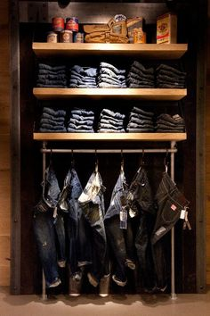 superdry store2 Clothing Store Displays, Clothing Store Design, Vintage Clothing Stores, Clothing Boutique Interior, Boutique Interior Design, Denim Display, Visual Merchandising Displays, Jeans Store, Retail Store Design