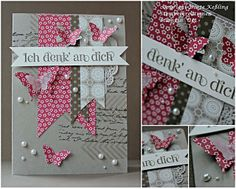 "Wednesday 13 February 2013 Stempelkreationen: for a dear friend ...""Paper Dreams"" DSP, Elegant & Bitty Butterfly punch, tea lace paper doilies"