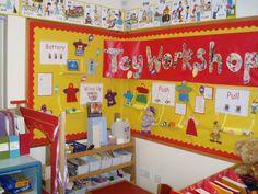 Toy Workshop Eyfs Classroom, Disney Classroom, Classroom Displays, Classroom Themes, Primary School Displays, Toy Workshop, Victorian Toys, Role Play Areas, Toy Story Theme
