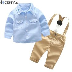 2Pcs/Set Spring Baby Boy Clothes Set Long Sleeve Gentleman Shirt Overalls Suit Fashion Kids Shirts Pants Outfits Clothing Set. Yesterday's price: US $10.99 (9.03 EUR). Today's price: US $16.41 (13.59 EUR). Discount: 0%.