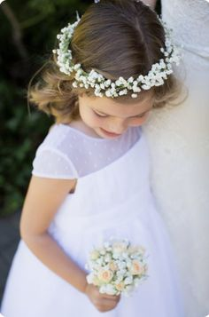 Simple white floral head wreaths for flower girls