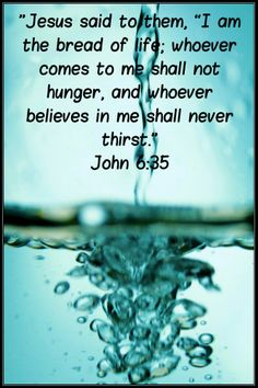 "John 6:35 (NIV) ~ Then Jesus declared, ""I am the bread of life. Whoever comes to me will never go hungry, and whoever believes in me will never be thirsty."