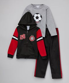 Look what I found on #zulily! Black & Gray Zip-Up Hoodie Set - Infant, Toddler & Boys by Teddy Boom #zulilyfinds $11.99