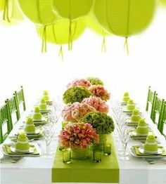 pink and green bouquets (Jeff Leatham design) Table Arrangements, Flower Arrangements, Floral Arrangement, Something Borrowed Wedding, Jeff Leatham, Green Table, Pink Table, Green Chairs, Table Rose