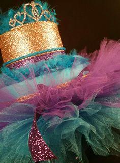 2 Tier Teal, Purple and Gold DIAPER CAKE w/ tiara | tutu skirt | girls | Tiersofjoy -  on ArtFire