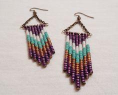 Beaded Earrings  Chevron Earrings