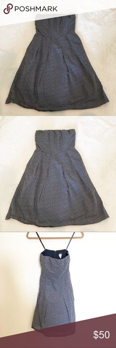 J. Crew strapless cotton polka dot dress. Size 0 J. Crew navy and white polka dot dress. Strapless design with slight pleat to A line skirt and built in hidden pockets. This dress is so versatile, perfect for every day or for a spring wedding, wear to work with a cute cardigan. Endless possibilities. EUC. Size 0. Offers welcome. Bundle and save. .   :::B53 J. Crew Dresses Strapless