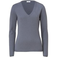 BRUNELLO CUCINELLI Pigeon grey V-Neck Cashmere Pullover ($755) ❤ liked on Polyvore