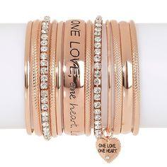 "Music Culture ""One Love One Heart"" Set of Bracelets"