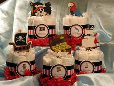Pirate Treasure Chest Parrot Mini Diaper Cake Centerpiece - Baby Shower Favors