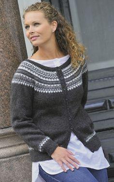 Ravelry: Jakke med rund sal pattern by Gerd Auestad Cardigan Design, Knit Cardigan, Fair Isle Knitting, Free Knitting, Norwegian Knitting, Nordic Sweater, Icelandic Sweaters, Jackett, Girls Sweaters